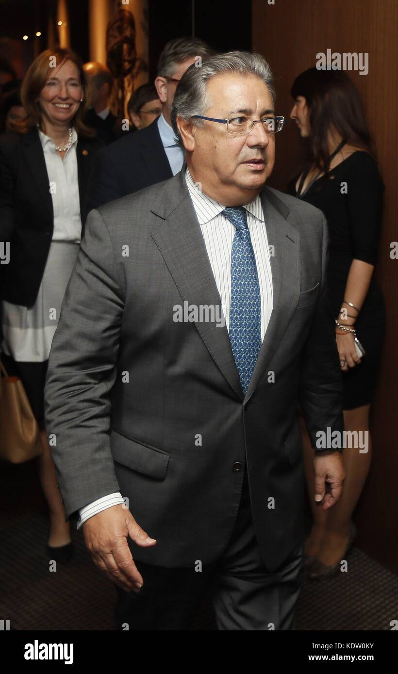 Spanish Home Minister, Juan Ignacio Zoido, leaves during a break in a G6 Home Ministers meeting in Seville, southern - Stock Image