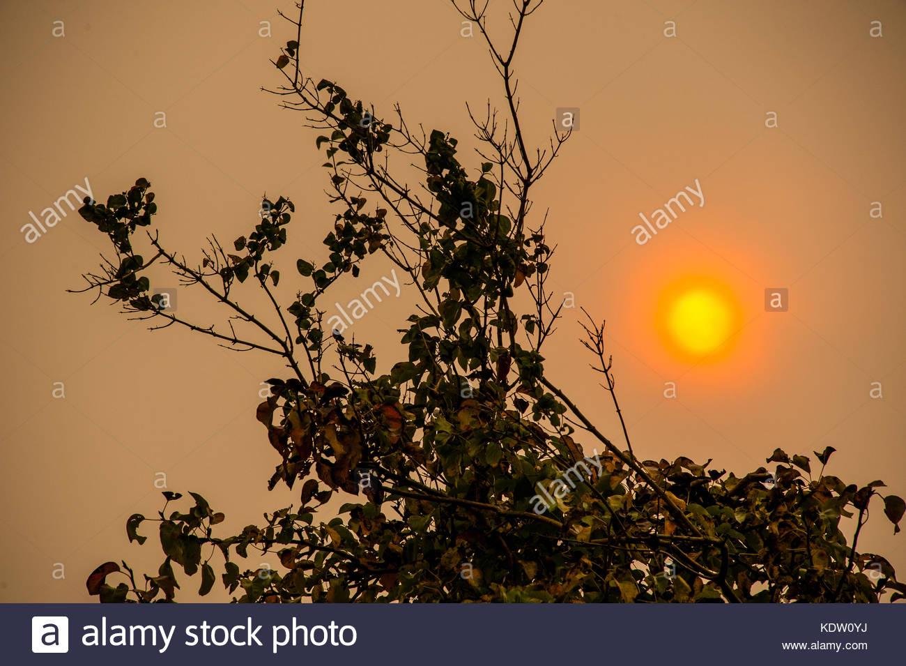 Red sun or Orange sun, Liverpool, England UK. 16th Oct, 2017. UK Weather, Liverpool, England UK. Hurricane Ophelia - Stock Image