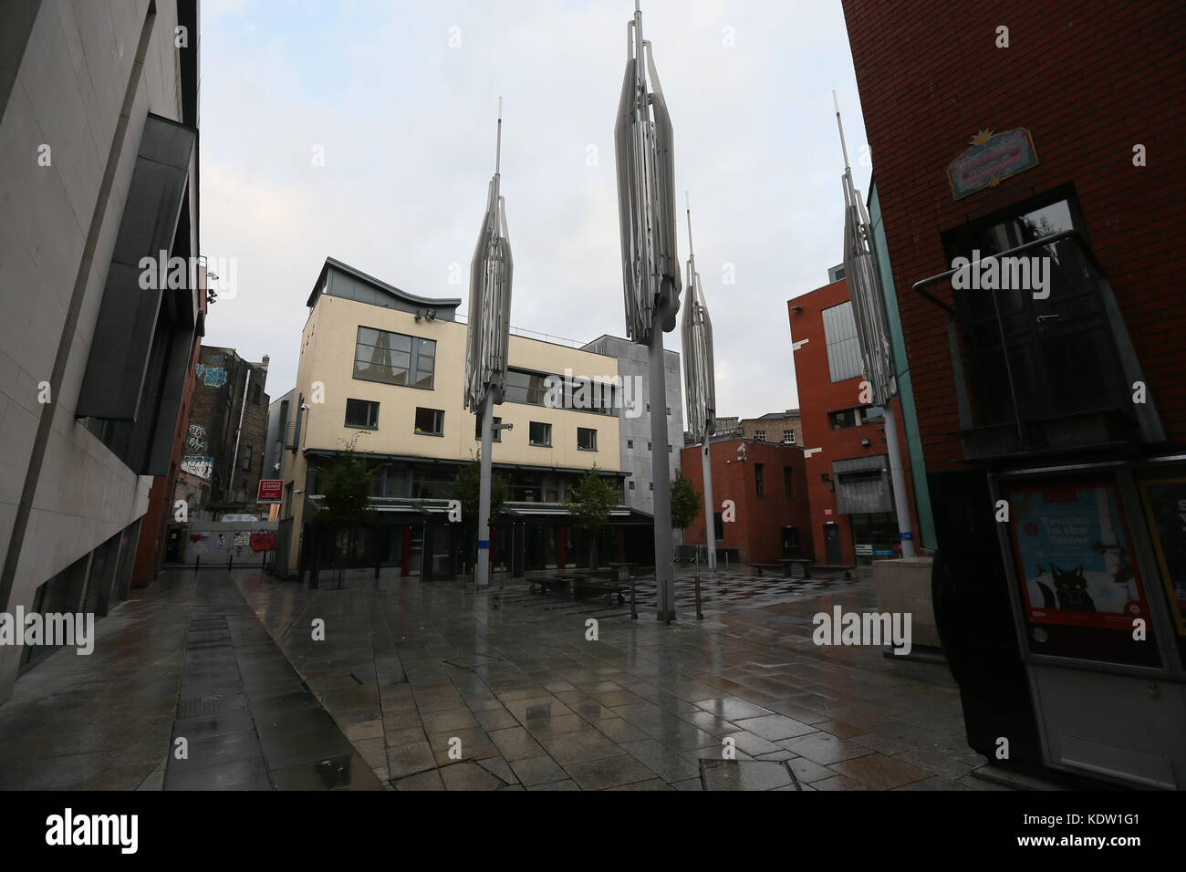 Dublin, Ireland. 16th Oct, 2017. Meeting House Square in Dublin's Temple Bar deserted. Image from Dublin, Ireland - Stock Image