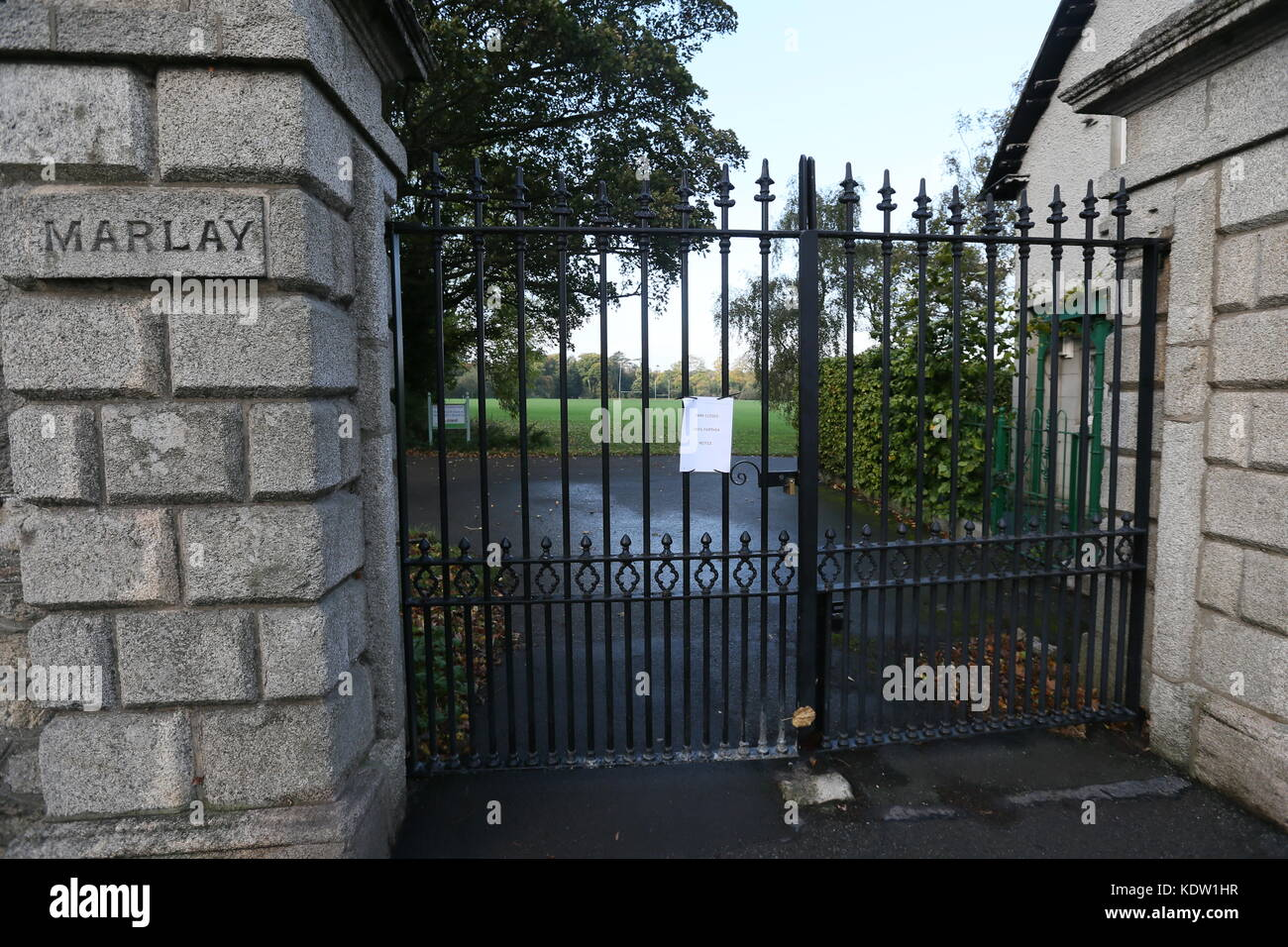 Dublin, Ireland. 16th Oct, 2017. The shut gates of Dublin's Marlay Park in South Dublin. The park closed during - Stock Image