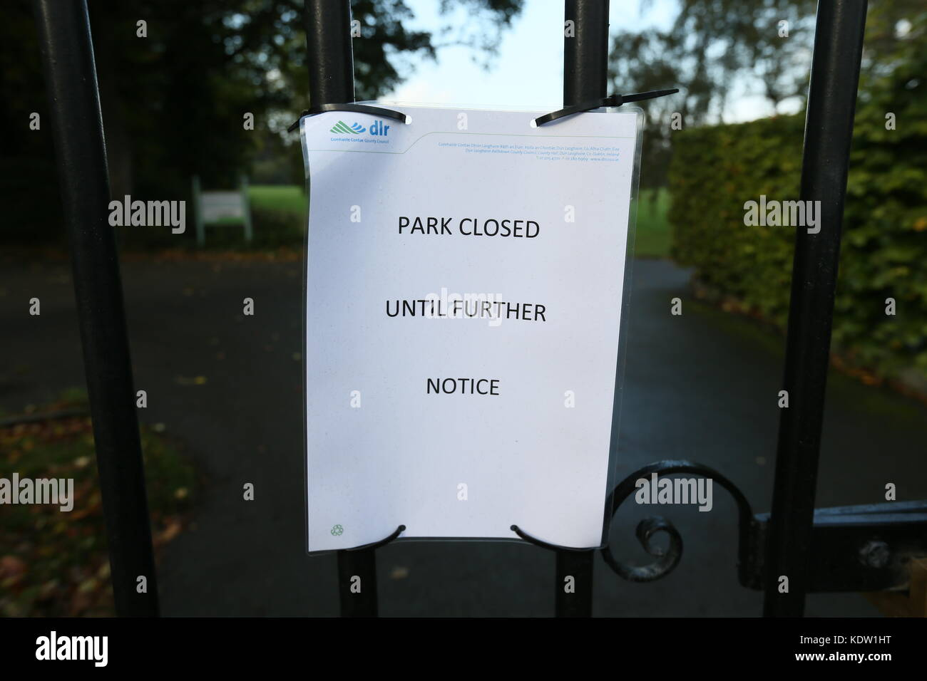 Dublin, Ireland. 16th Oct, 2017. A Dun Laoghaire Rathdown County Council notice on the gates of Dublin's Marlay - Stock Image