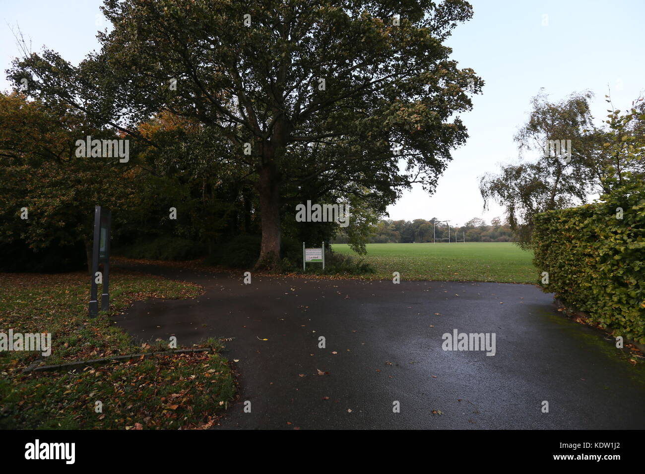 Dublin, Ireland. 16th Oct, 2017. A view of the inside of Marlay Park in Dublin. All parks in the Irish capital closed - Stock Image