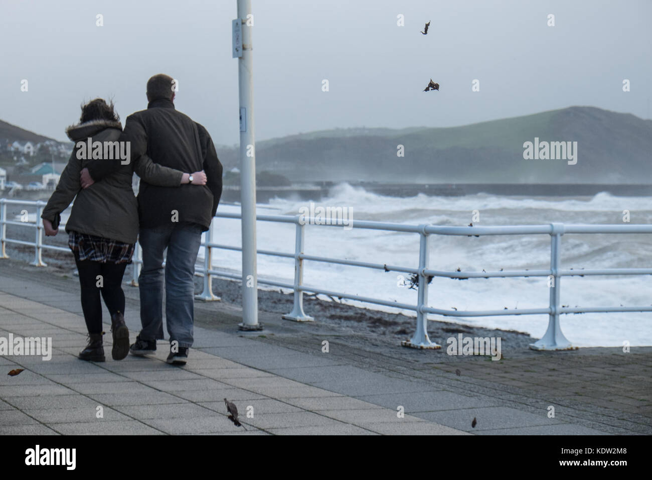 Aberystwyth, Wales, UK. 16th Oct, 2017. UK Weather: Storm Ophelia in Aberystwyth,Wales,UK,U.K.,Europe.  Strong winds - Stock Image