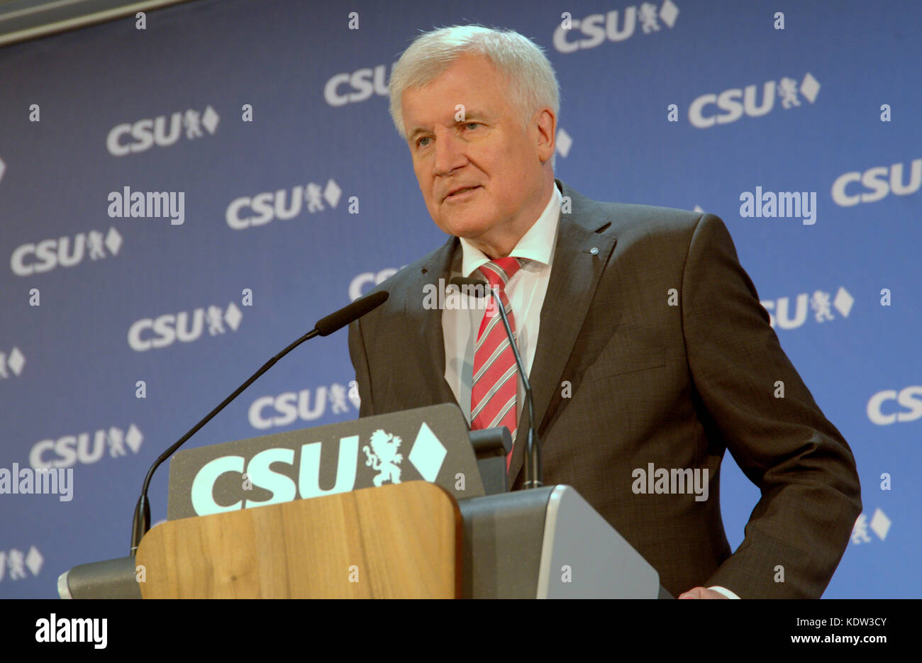 Munich, Germany. 16th Oct, 2017. Horst Seehofer, Party leader of Christian Social Union of Bavaria, Germany, speaking - Stock Image