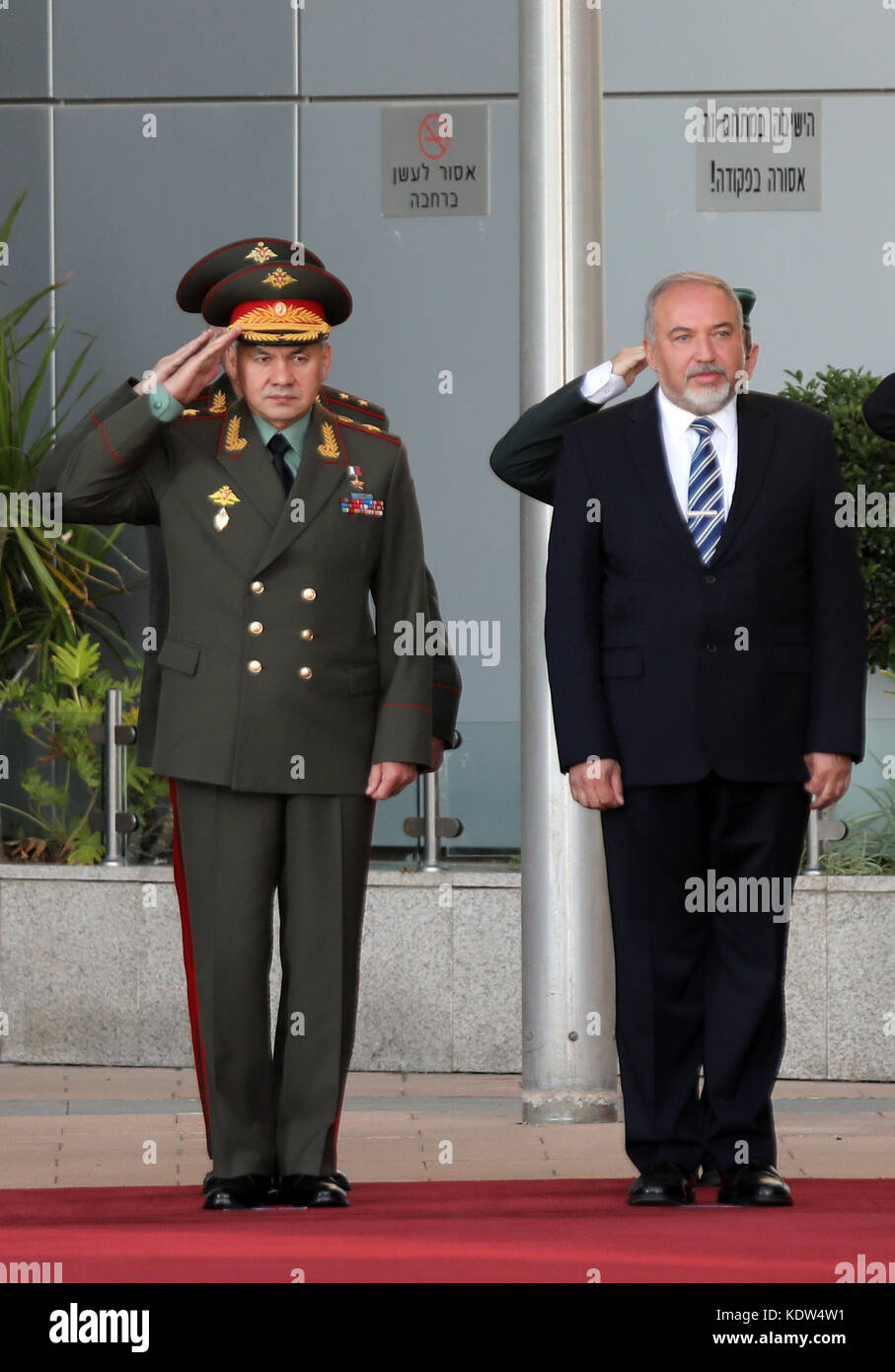Tel Aviv, Israel. 16th Oct, 2017. Israeli Defense Minister Avigdor Lieberman (R) welcomes his Russian counterpart - Stock Image