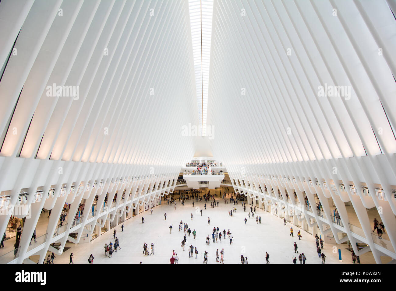 The impressive architecture of the Oculus at the World Trade Center transportation hub in New York city, United - Stock Image