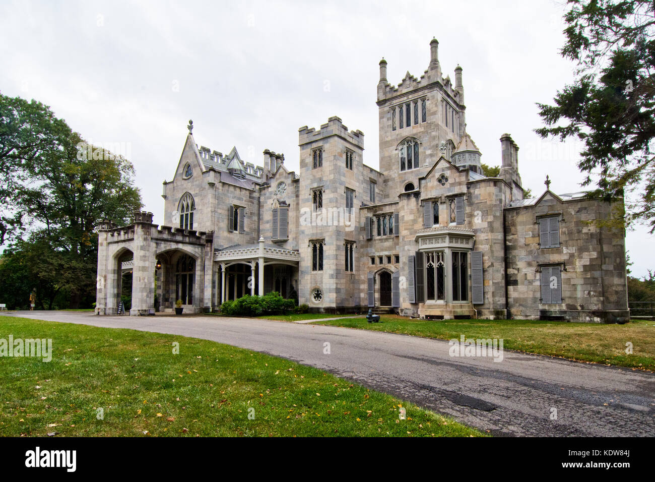 The Gothic Architecture Of Historic Lyndhurst Mansion On Banks Hudson River Tarrytown New York USA