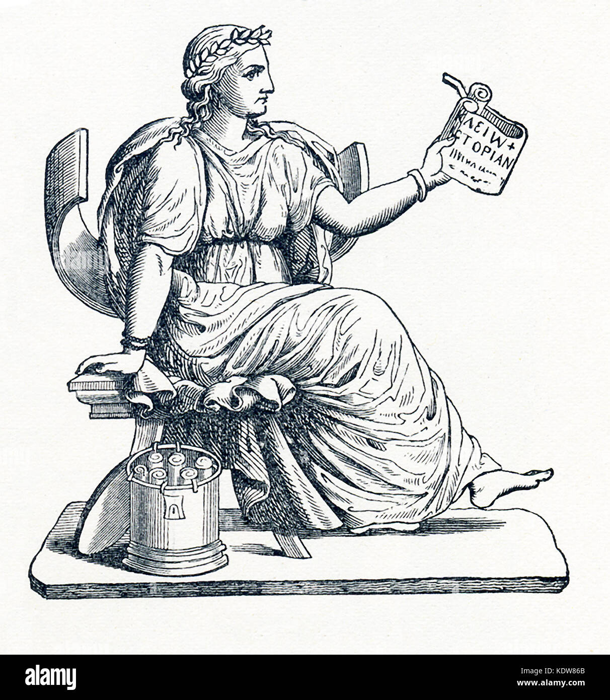 This illustration dates to 1898 and shows Clio, the Muse of history, as prepresented by a statue now  in the Louvre - Stock Image