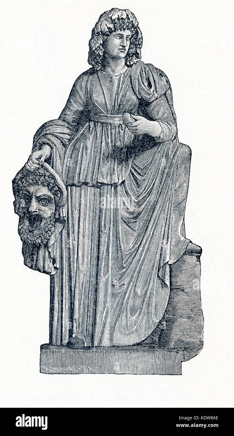 This illustration dates to 1898 and shows the statue of Melpomene in Vatican Museum. Melpomene was honored as the - Stock Image