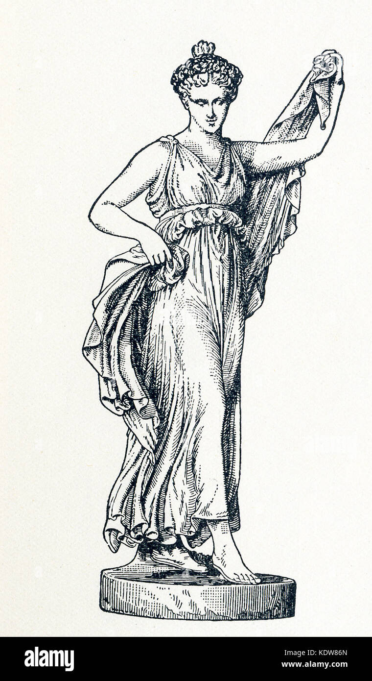 This illustration of Terpsichore dates to 1898. It shows the statue in Florence. Terpsichore was the goddess of Stock Photo