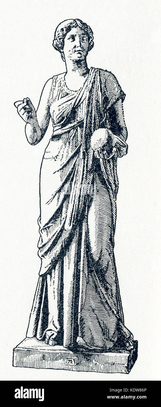 This illsutration of a statue of Urania dates to 1898. The statue is in a Berlin museum. Urania was the Muse of - Stock Image