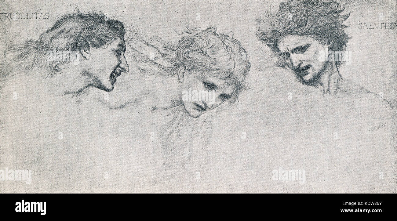 This illustration  of The Furies dates to 1898. It is a sketch by British artist and deisgner Edward Burne-Jones - Stock Image