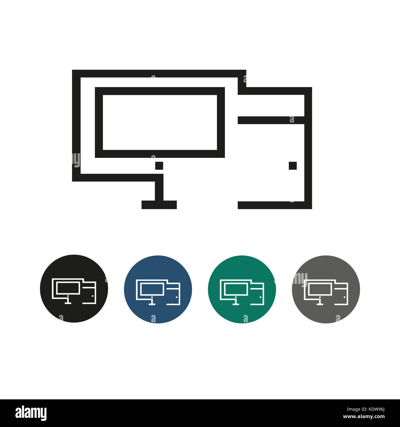 PC Desktop Outline Graphic Illustration - Stock Image