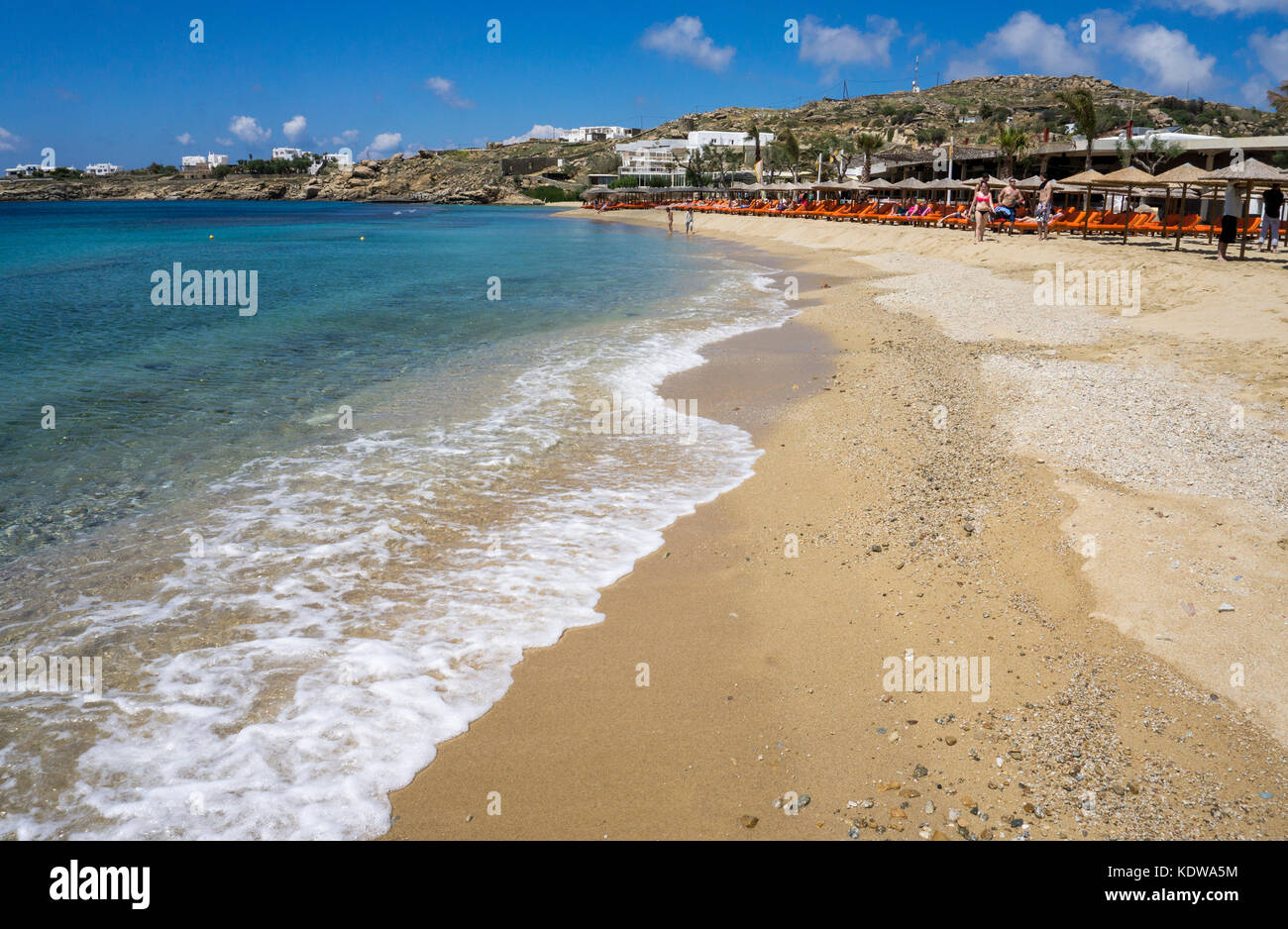 Paradise beach, popular beach at Mykonos - Stock Image