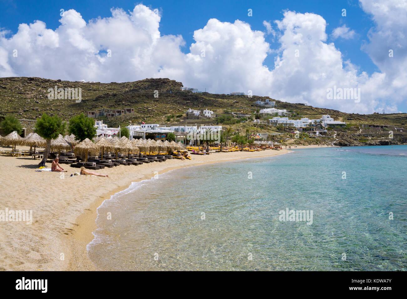 Paradise beach, popular beach at Mykonos, - Stock Image