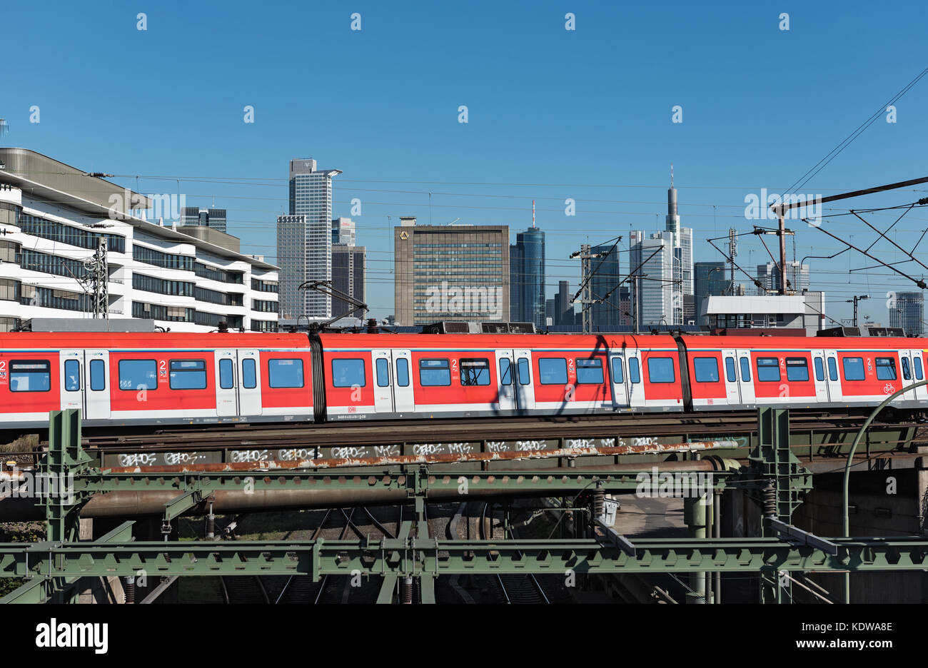 Skyscrapers and the railway aerial of Frankfurt main station - Stock Image