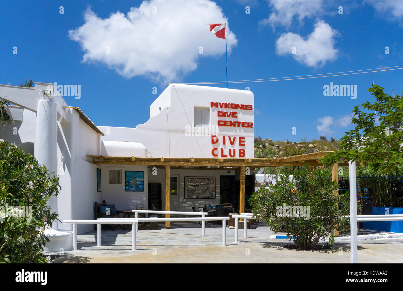 Mykonos dive center, Tauchschule am Paradise beach, Mykonos - Stock Image