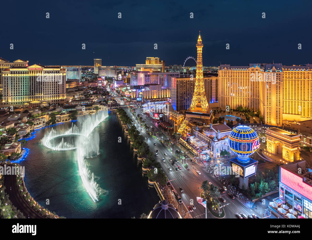 Aerial view of night illumination Las Vegas strip - Stock Image
