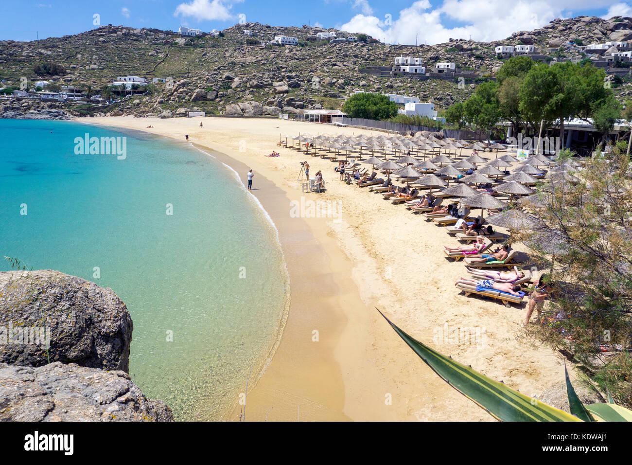 Best Island Beaches For Partying Mykonos St Barts: Mykonos Super Paradise Beach Stock Photos & Mykonos Super