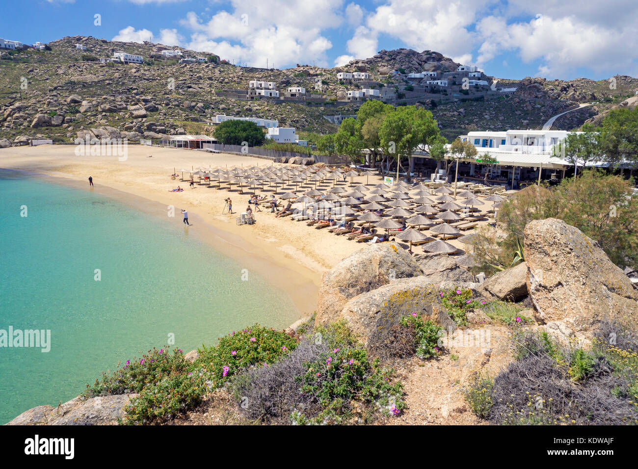 Super Paradise beach, popular beach south of Mykonos, Cyclades, Aegean, Greece, Europe Stock Photo
