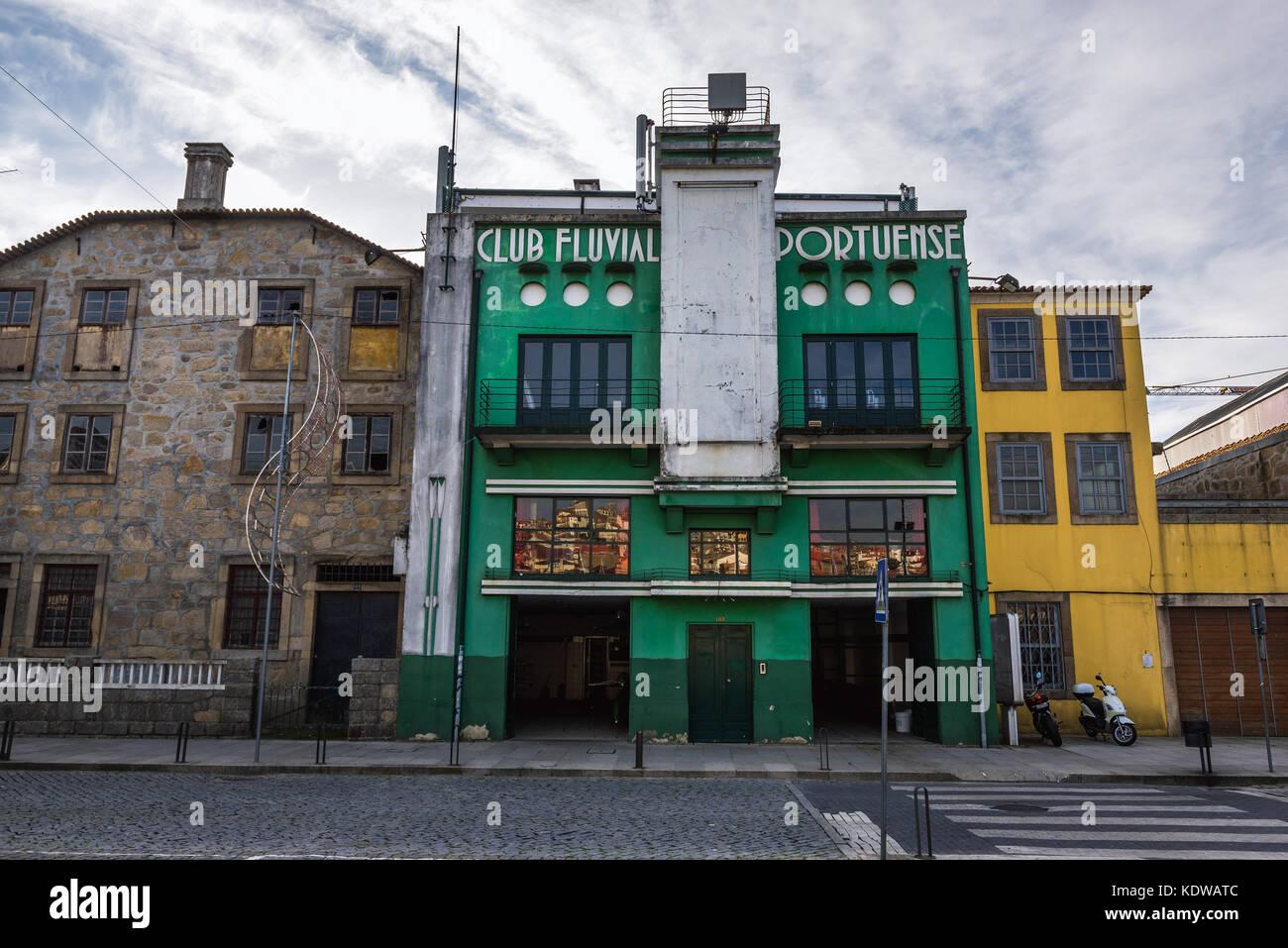 Club Fluvial Portuense rowing sports club on Diogo Leite Avenue in Vila Nova de Gaia city of Portugal - Stock Image