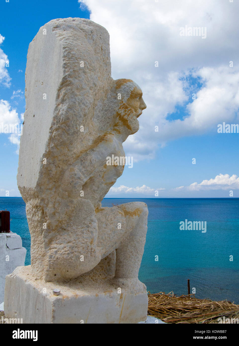 White sculptur at Paradise beach, south of Mykonos, Cyclades, Aegean, Greece, Europe - Stock Image