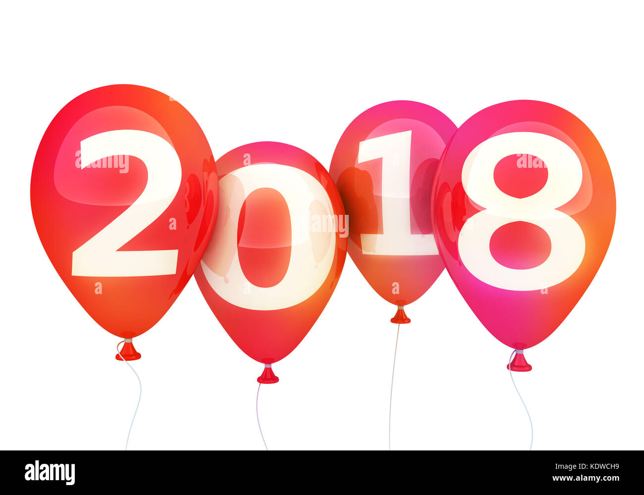 sign new year 2018 on balloon 3d illustration
