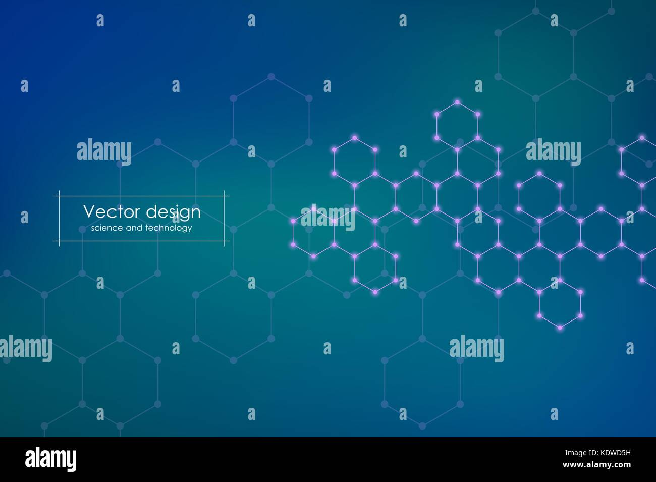 Abstract hexagonal molecule background, genetic and chemical compounds, scientific or technological concept vector - Stock Image