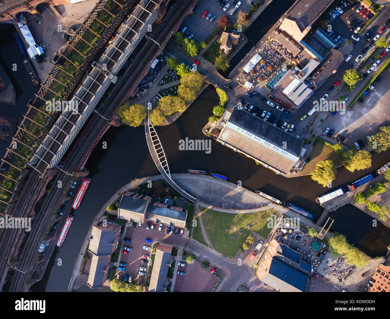 A drone view above castle field canals in manchester city centre - Stock Image