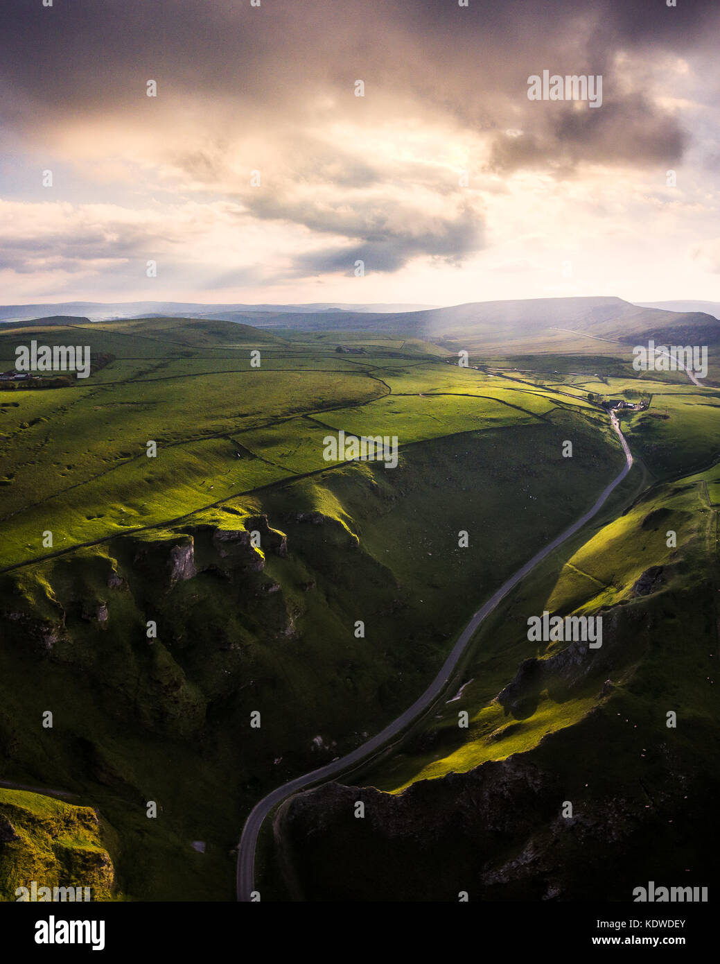 A drone view from high above Winnats pass in Derbyshire, England - Stock Image