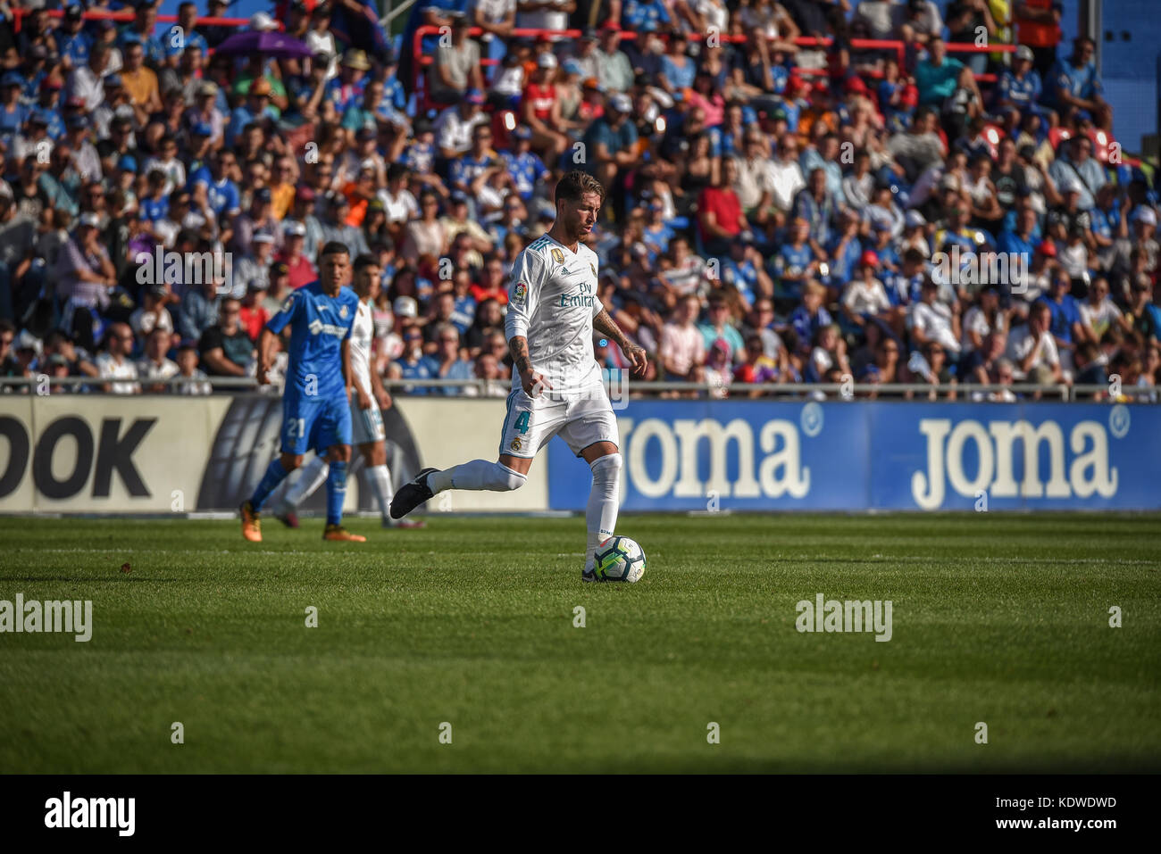 The football mach celebrate in Getafe´s stadium coliseum between Getafe C.F vs Real Madrid with result 1-2 - Stock Image