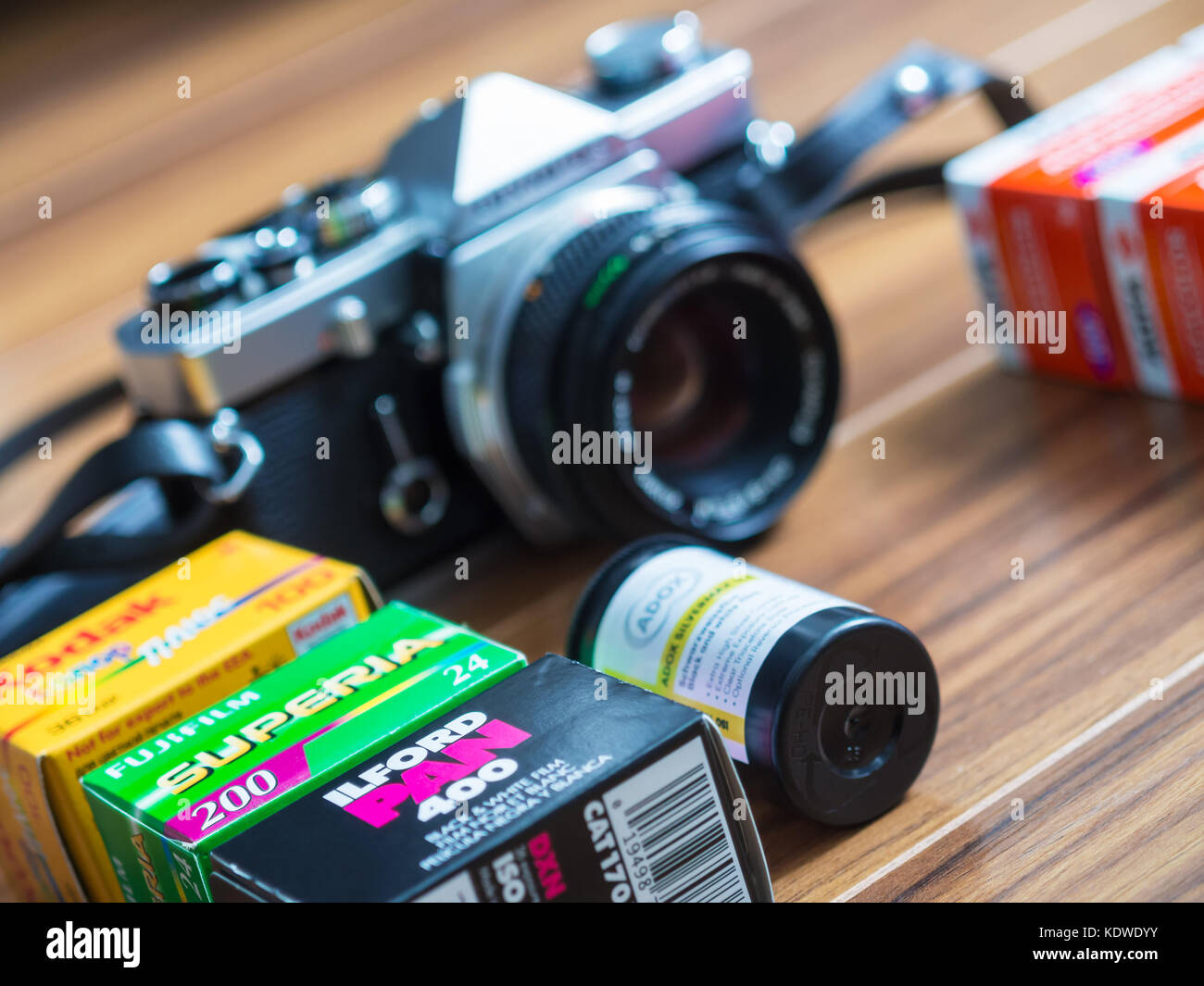 Moscow, Russia - June 09, 2016: Film Photography. Fujicolor, Kodak, Ilford, Adox and Agfacolor 35mm film rolls and Stock Photo