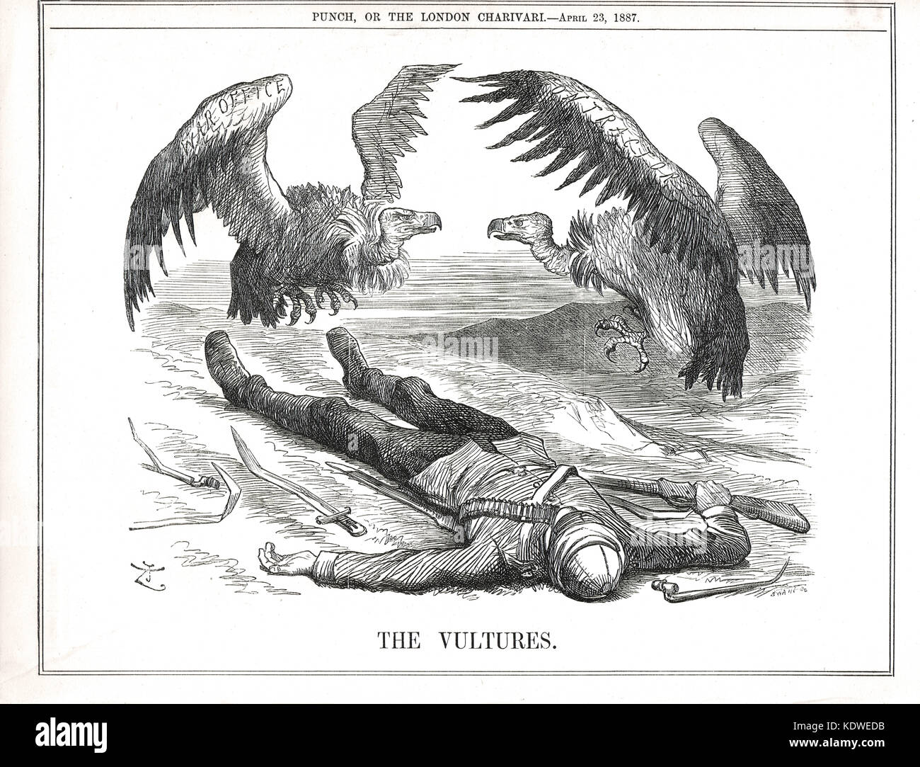 Vultures fighting over the corpse of a dead British soldier. The Vultures, a Punch cartoon of 1887 - Stock Image