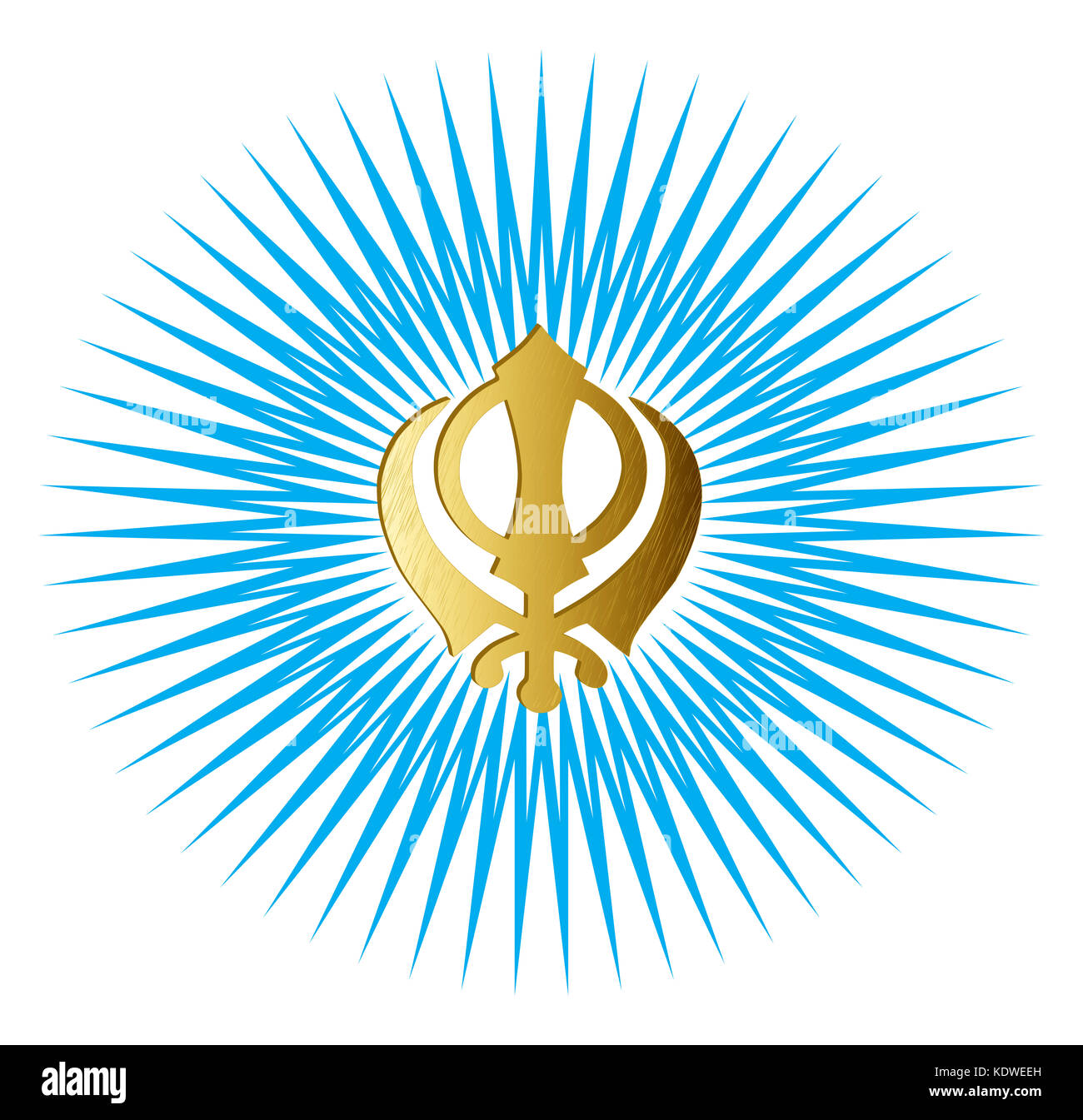The main symbol of Sikhism – sign Khanda made of gold metal. Gradient blue rays, isolated, illustration - Stock Image