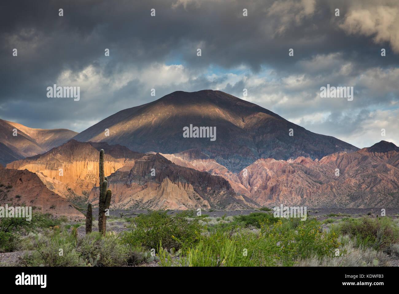 Dawn on the hills of  the Quebrada de Humahuacha nr Maimara, Jujuy Province, Argentina - Stock Image