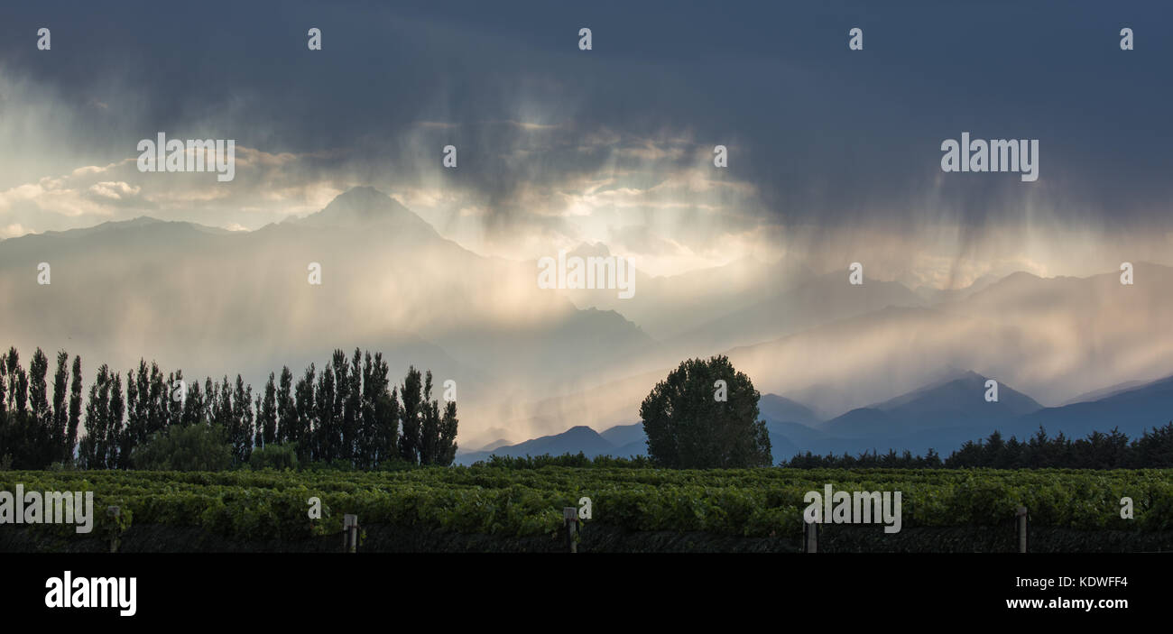 Showers over the Andes from the vineyards of the Uco Valley nr Tupungato, Mendoza Province, Argentina - Stock Image