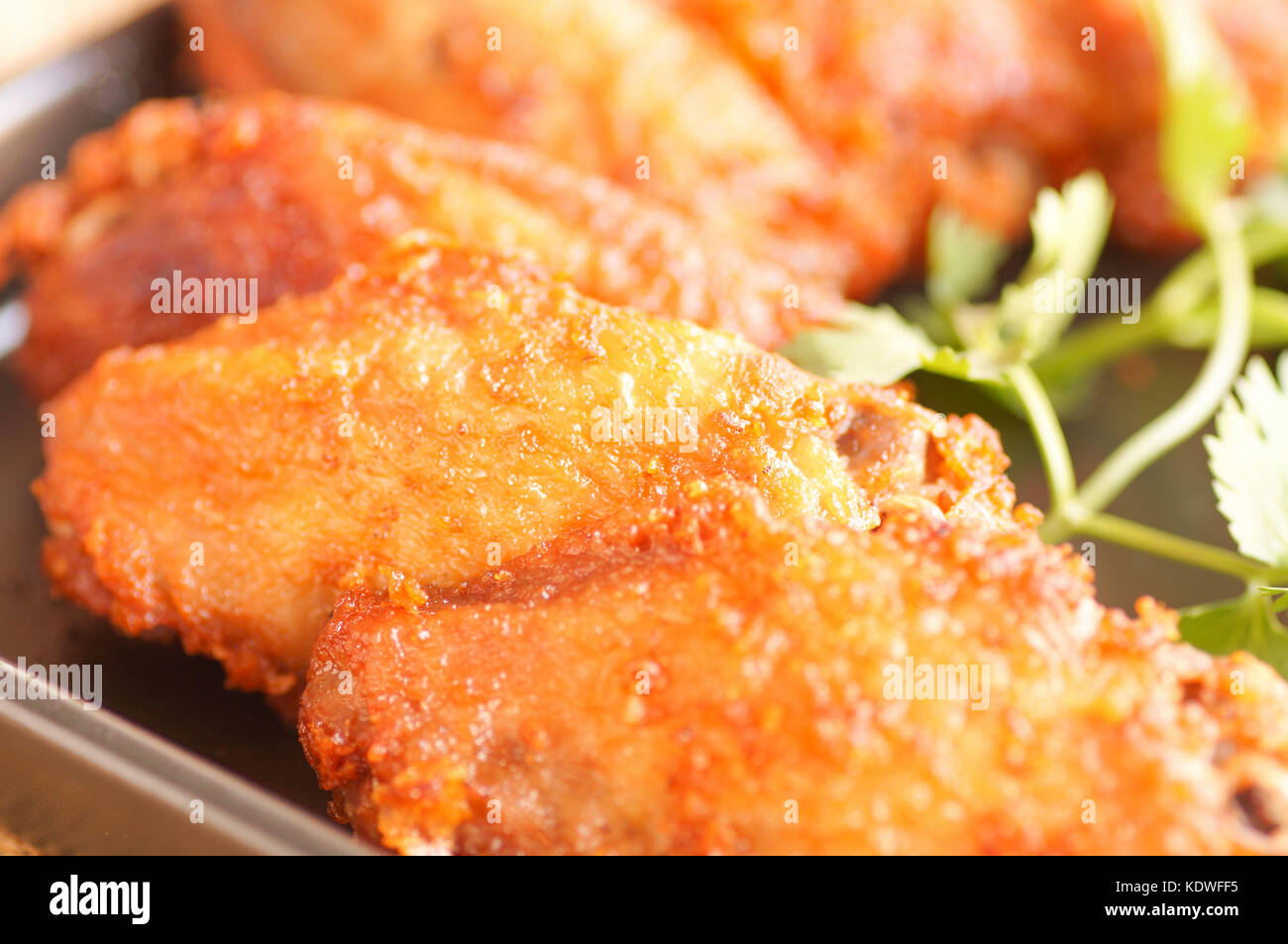 Close Up Spicy Deep Fried Breaded Chicken Wings With Ranch