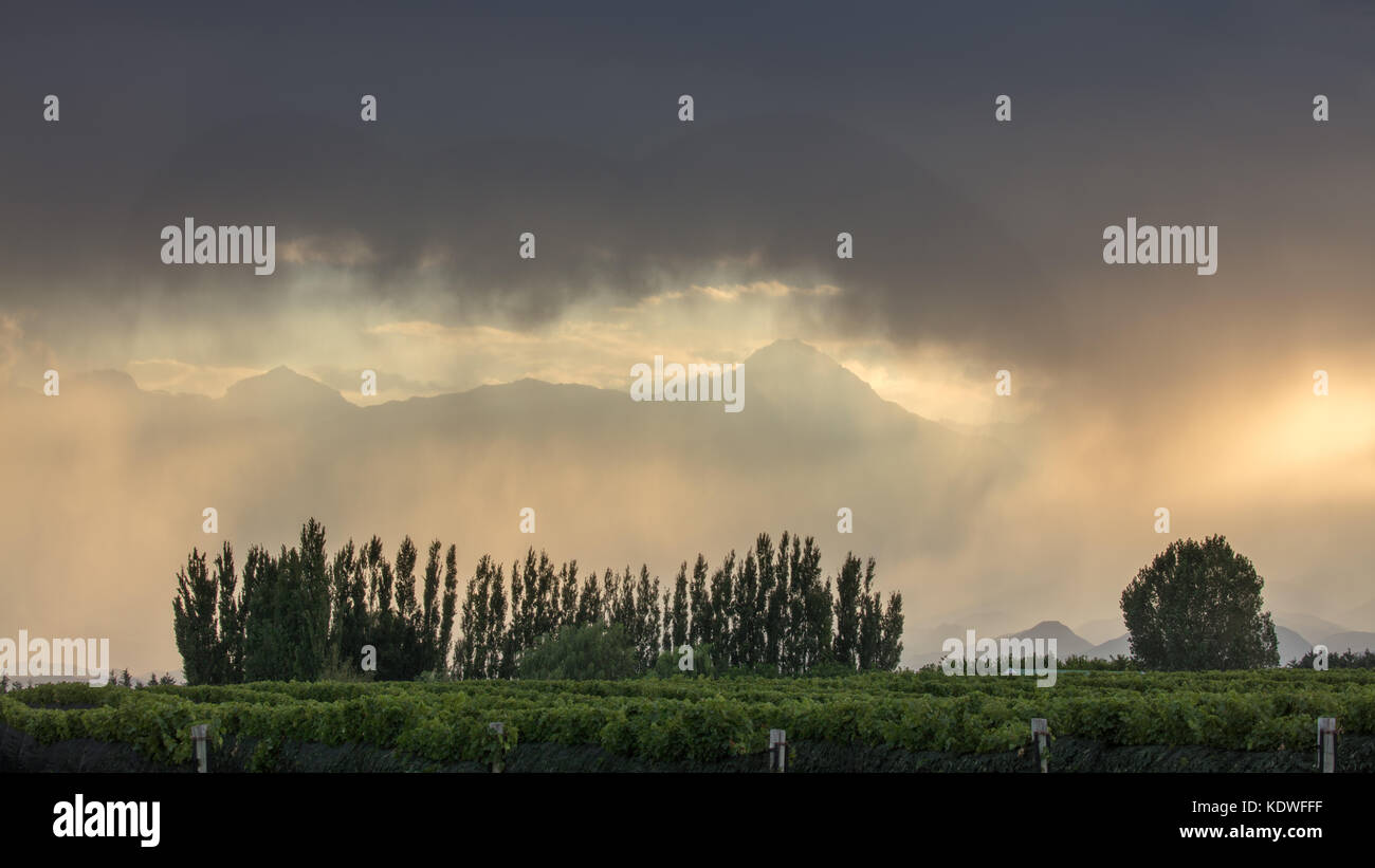 Showers over the Andes from the Uco Valley nr Tupungato, Mendoza Province, Argentina - Stock Image