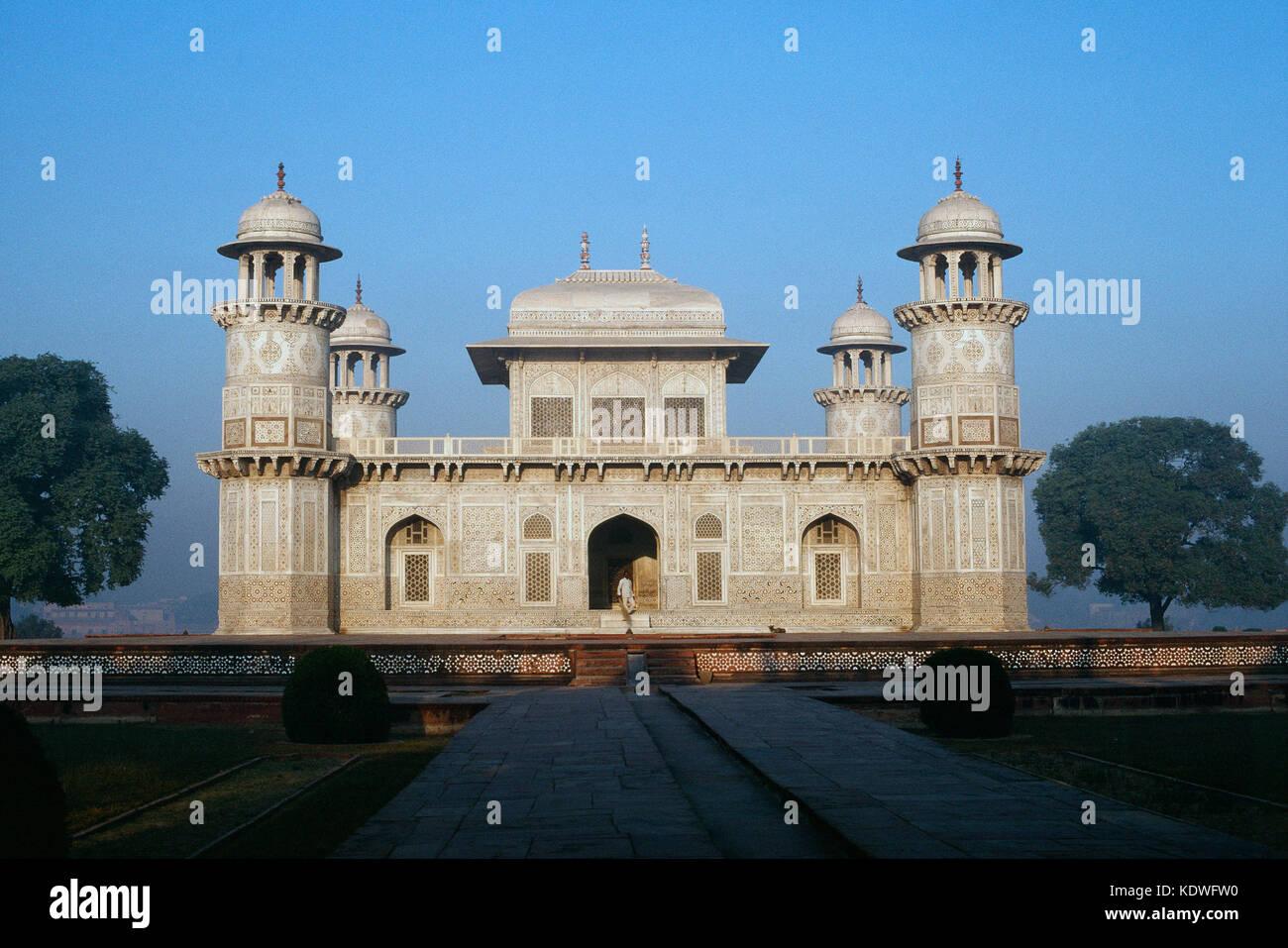 India. Agra. Itimad-ud-Daula. Mirza Gyas Beg mausoleum. - Stock Image