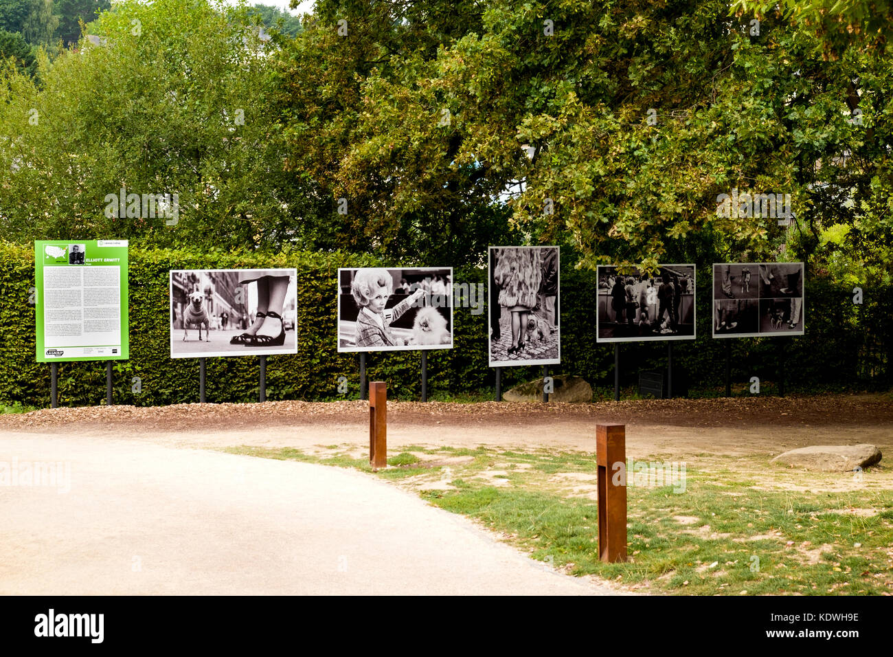 The photographs of Elliott Erwin on display at the outdoor exhibition in La Gacilly, Morbihan, Brittany, France. - Stock Image