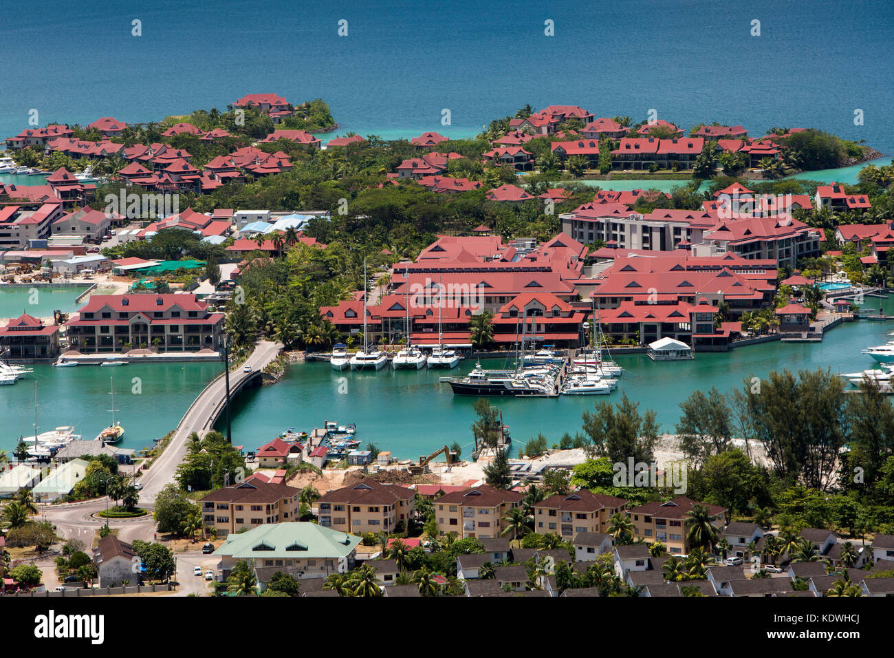 The Seychelles, Mahe, Victoria, Eden Island, residences & marina on reclaimed land - Stock Image