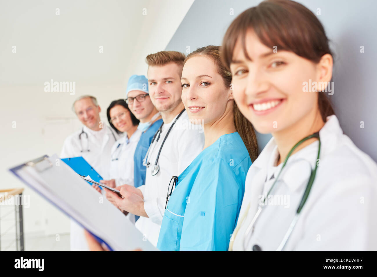 Group of doctors in physician apprenticeship as a team in training - Stock Image