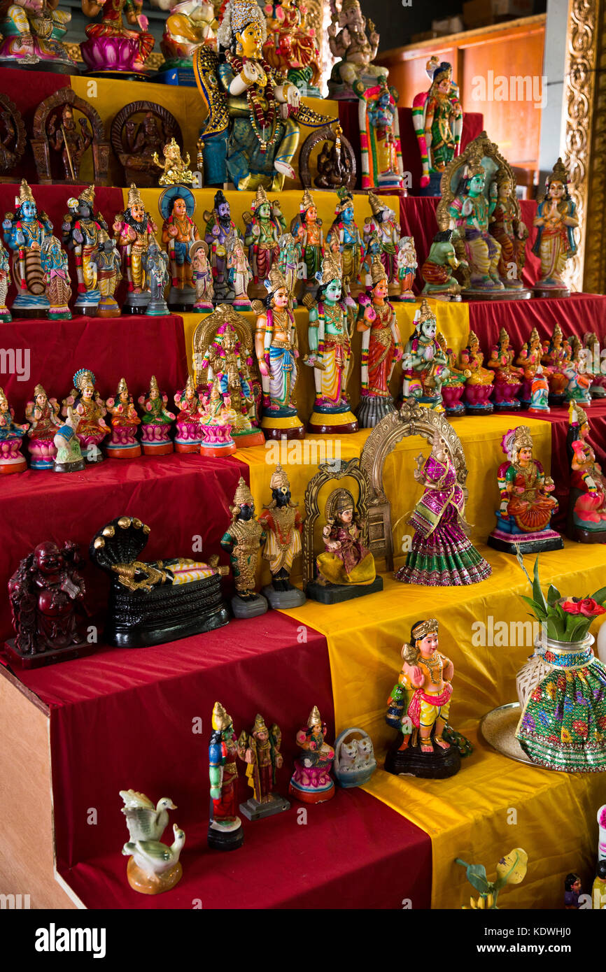 The Seychelles, Mahe, Victoria, Quincy Street, Sri Navasakthi Vinayagar Hindu temple interior, deities - Stock Image