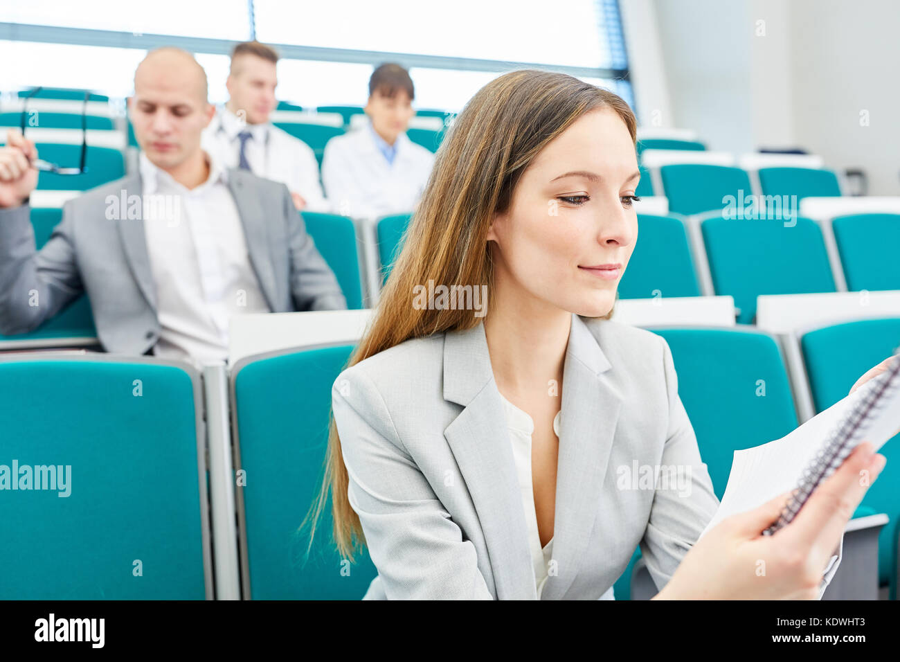 Young woman as medical school student study with diligence - Stock Image