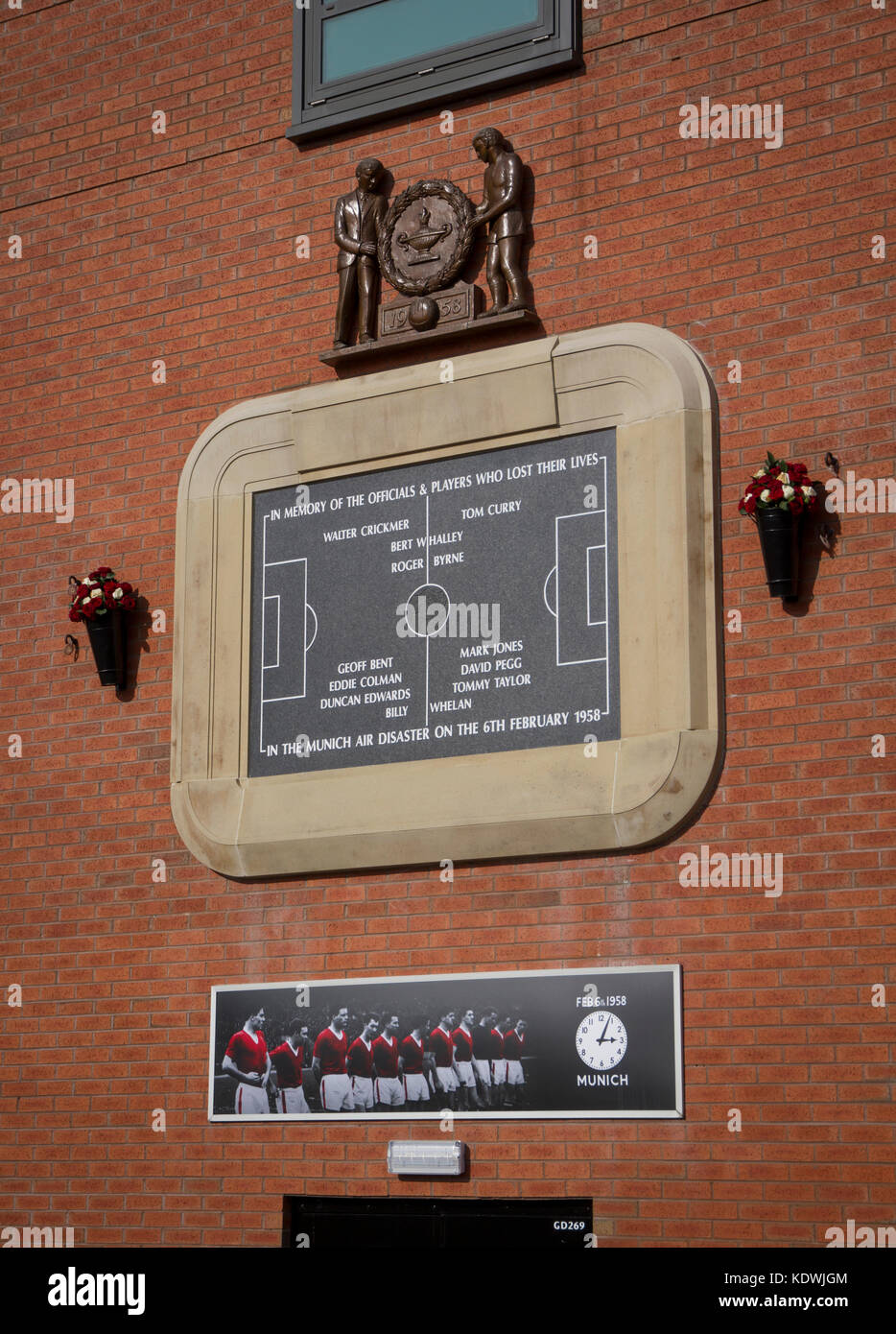 Memorial at Old Trafford Football Stadium for the Munich Air Disaster - Stock Image