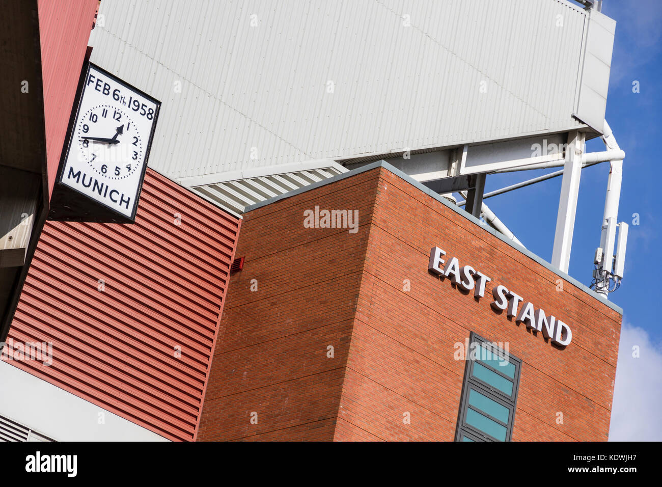 The Munich Clock at Old Trafford Football Stadium. Denoting the time and year of the Munich Air Disaster - Stock Image