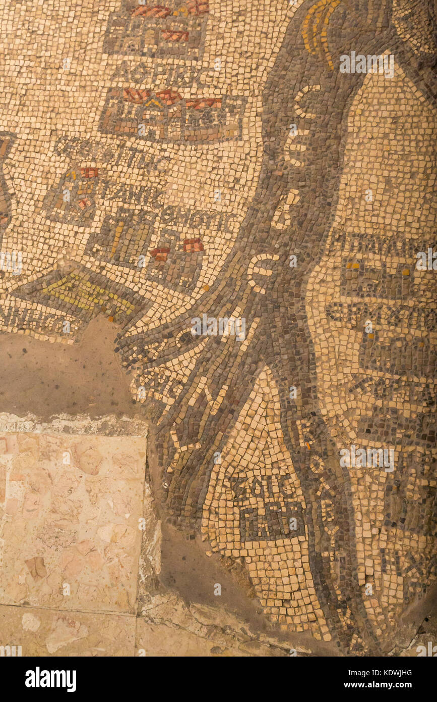 Detail of 6th century Madaba Mosaic Map showing the  Nile River in the floor of a Greek Orthodox Basilica Saint Stock Photo