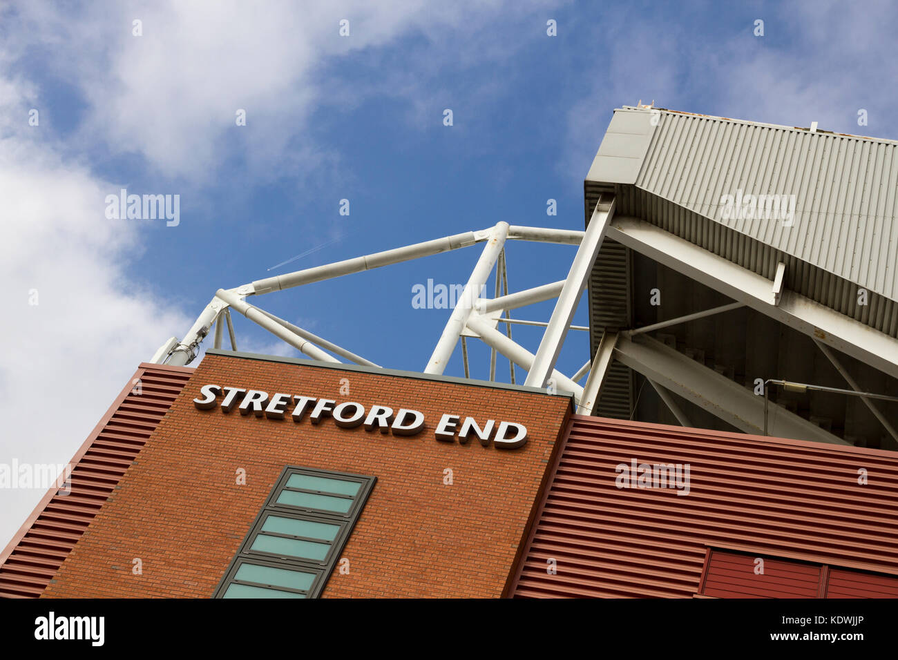 The Stretford End or West Stand at Old Trafford Footall Stadium. Home of Manchester United Football Club. - Stock Image