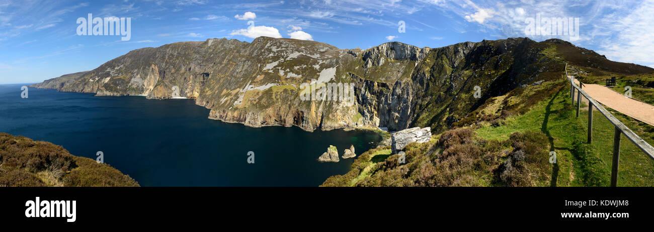 Slieve League, sliabh league, sliabh liag, Sea Cliffs, Donega,landscape, seascape, panorama, panoramic, 600m high, - Stock Image