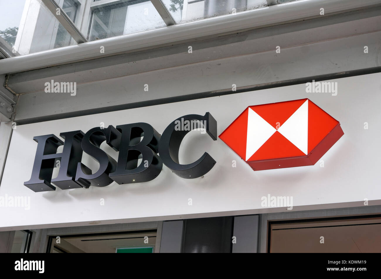 HSBC bank banking centre center sign in Vancouver, BC, Canada Stock Photo